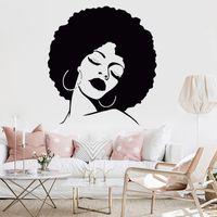 ingrosso salone di bellezza artistico-Fashion Girl Vinile decorativo Wall Art Sticker Lady Sexy Hair Spa rimovibile impermeabile Decal per Salon Salon Hair Salon Murale