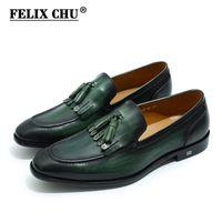 мужская обувь из кожи ручной работы оптовых-FELIX CHU Summer Autumn Genuine Leather Handmade Green Mens Loafers With Tassel Man Dress Shoes Wedding Moccasin Party Footwear