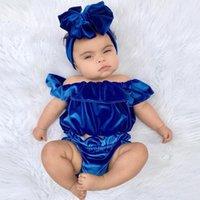 ingrosso colletto di loto-Fashion Baby Lotus colletto in velluto abiti Top in velluto oro con spalline + pantaloncini 2 pezzi / set per bambini Boutique set di abbigliamento