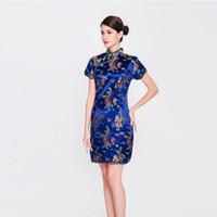 senhoras chinesas cheongsam venda por atacado-Estilo chinês Senhora Azul Qipao DragonPhoenix Mulheres Cheongsam Vintage Mandarim Gola Vestidos Sexy Magro Vestido de Grandes Dimensões S-6XL