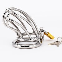 Wholesale adult male penis belt rings online - Male Chastity Devices Stainless Steel Cock Cage For Men Metal Chastity Belt Penis Ring Sex Toys Cock Lock Bondage Adult Products
