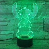 nachtlicht 3d cartoon großhandel-Cartoon Stich 3D Lampe Schlafzimmer Tisch Nachtlicht Acryl Panel USB Kabel 7 Farben ändern Touch Base Lampe Kinder Geschenk HR-111201