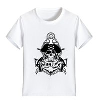 Wholesale girls skull t shirt - NEW ARRIVAL Children Cartoon T Shirt Pirate Skull Logol Printed Boy Kid Clothes Short Sleeve Girl Tee Shirt Kid Summer PH6009
