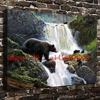 Wholesale Canvas Oil Painting Landscape Forest - Natural Scenery Forest Animals Bear,Canvas Prints Wall Art Oil Painting Home Decor 16x24 12x18 (Unframed Framed)