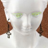 Wholesale bronze cross jewelry for sale - Group buy Antique bronze Hollow Cross Earrings Fish Ear Hook pairs Chandelier Jewelry x33 mm A e