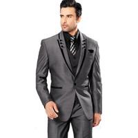 en iyi gri moda kıyafeti toptan satış-En Çok Satan 2018 Gri Erkek Takım Elbise Doruğa Yaka Bir Düğme Damat Smokin Resmi Gelinlik Erkekler Düğün Balo Suits (Ceket + Pantolon + Yelek)
