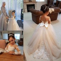 Wholesale Flower Girl Dresses - 2018 Latest Cute Jewel Flower Girl Birthday Dresses Ball Gown Sheer Neck Long Sleeve With Lace Applique Kids Girls Pageant Dresses