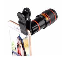 зум-объектив для смартфона оптовых-Универсальный клип 12X Zoom Мобильный телефон Объектив телескопа Telephoto Внешний объектив камеры смартфона для Sumsung Huawei