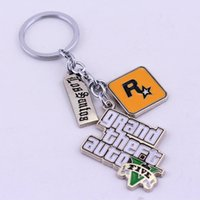 Wholesale Game Coins - GTA5 Game Grand Theft Auto V Keychain Metal Key Rings For Gift Chaveiro Key Buckle Jewelry For Cars 4 5rj Y
