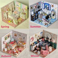 Wholesale Dollhouse Living Room - Wholesale- New 4 Styles DIY Handmake Dollhouse Wooden Lighting House Miniature Kit Furniture Living Room Kid Gift Toy For Children