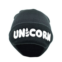 Wholesale wholesale animal print hats online - Unicorn Beanie Men And Women Leisure Winter Cap Sleeve Head Knitted Hat Fashion Casquette Hot Sale lm gg