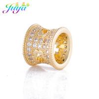 кристаллы камни дыры оптовых-Micro Inlay Crystals Big Hole Clover Pandor Charm Beads For Women Men Natural Stones Pearls Beadwork Jewelry Making
