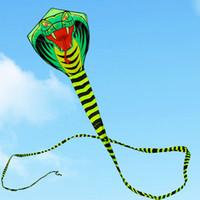 kinder drachen geben verschiffen frei großhandel-Kostenloser Versand 15 mt Schlange Fliegen Linie Ripstop Nylon Stoff Outdoor-spielzeug Cerf Volant Easy Open Kinder Drachen Für Erwachsene Regenbogen