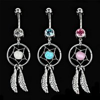 Wholesale dream belly - 3 Colors Crystal Gem Dream Catcher Feather Chain Navel Dangle Belly Barbell Button Bar Ring Body Art Bar G92L