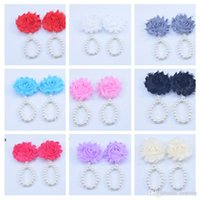 Wholesale first foot - New Arrival kids Flower Sandals baby Barefoot Simulated Pearl Anklets Newborn Foot Band Toe Rings First Walker Kids Photography Props KFA38
