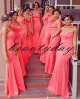 Wholesale formal wraps for dresses for sale - Group buy 2019 African Bridesmaid Dresses For Nigerian Watermelon Wrap Maid Of Honor Gowns Formal Wedding Party Guest Dress vestidos de fiesta