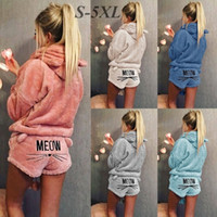 Wholesale Pink Pajama Suit - Women Lovely Long Sleeved Soft Warm Velvet Hoodie Sweatershirt &Furry Homewear Cat Print Hip Winter Sleeping Suits Sweet Sports Wear Suits