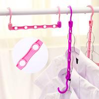 Wholesale plastic clothes hangers laundry resale online - Colourful Non Slip Coat Hanger Plastic Folding Hangers Multi Function Windproof Clothes Rack Laundry Supplies ld C R