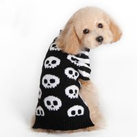 Wholesale knitted skull sweater - Halloween Pet Sweater Skull Striped Sleeve Cats and Dogs warm coat Clothing Pet Clothing Puppy Dog Sweater Knitted Coat Apparel