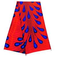 tecido de impressão de penas de seda azul venda por atacado-5 Metros / pc Bonito tecido de renda de seda chiffon vermelho impresso padrão de penas azuis tecido de rayon africano suave para o vestido LBS3-3