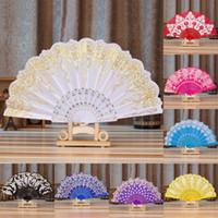 ткань цветок домой оптовых-1PC 7 Styles Flower Painting Paern Polyester Folding Fan Chinese Style Traditional Lace Bronzing Fabric Folding Fan Home Decor
