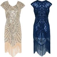 Wholesale Short Dress Fringes - 2017 Summer Vintage 1920s Flapper Great Gatsby Sequin Fringe Party Dress Plus Size Mesh Dress Women Clothing Vestidos De Fiesta