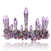 Wholesale tiaras end crowns - Bride ornaments purple crystal column big crown high-end atmosphere wedding headwear star with the same wedding dress accessories