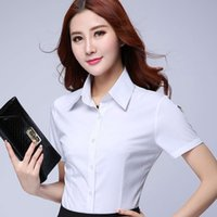 Discount formal blouses tops - Fashion women short sleeve shirt 2018 New summer formal ol elegant blouse white chifion office work wear plus size clothes tops