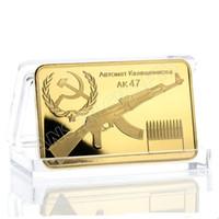 barra de ouro russa venda por atacado-5 pçs / lote, Militar Kalashnikov Pai de AK-47 Ouro Lingad Bullion Lingote Bar, Barra de Ouro Bullion Soviética do Exército Russo