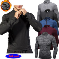 Wholesale fitness sweaters - New Men plus velvet Sweater men Sportswear Compression Fitness Tights Running Shirt Training Long Soccer Jerseys