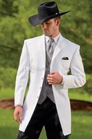 erkek batı takımları toptan satış-Vintage Batı Smokin Kovboy Slim Fit Siyah Damat Suit Düğün yemeği Suit Erkekler / Balo Suit 3 Parça (Ceket + Pantolon + Yelek)