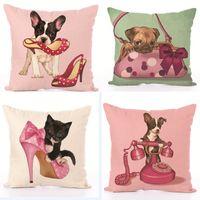 Wholesale dog cushions home resale online - Linen Cushion Decorative Pillow Case Cover New Animal Pink Dog Cat Pillow Cover Car Sofa Home Textile Home Decoration Colors HH7
