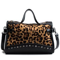 большая сумка женская оптовых-Leopard Printed PU Leather Shoulder Bag for Women 2018 High Quality Vintage Rivet Big Totes Female Messenger Bag Casual Handbags
