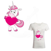 Wholesale Hearts Transfers - Hot Holding heart Dabbing Unicorn patches Diy girls T-shirt Dresses Sweater thermal transfer Patch for clothing