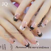 Jq Fashion Style Lady French Artificial Falso Falso Nail Tips Stars Design 24 Unids Cubierta Completa Acrílico Nails Art Salon