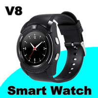 Wholesale I Phone Black - 1000X V8 Smart Watch Bluetooth Watches Android with 0.3M Camera MTK6261D DZ09 GT08 Smartwatch for android phone with Retail Package I-BS