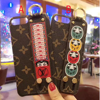 Wholesale Face Shell - for iPhone7 6 6S 7plus Case for iPhoneX 8 8plus Matte Print Face pattern Phone CaseLuxury Brand cover shell Wrist strap
