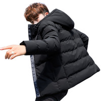 черные парки для мужчин оптовых-winter Jacket Men Cotton Padded hooded Parka coat black printing Thick Quilted  jacket