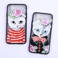 Wholesale translucent plastic iphone case - Lovely couples cats flower UFO painted translucent Hard Phone Case For iPhone 5 5s se 6 6S 6plus 7 7plus 8 8s plus X Company customized