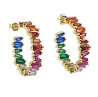 europäischer reifen ohrring großhandel-bunter Steinregenbogenschmucksachesommerwinter heißer verkaufeneuropäischer Frauen baguettu Zirconiahandwerk Luxus Gold überzogener Ohrring