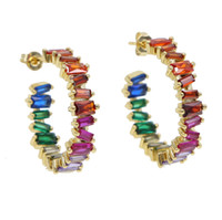 d927bc49a236 joyería colorida del arco iris de piedra de invierno de verano venta  caliente mujeres europeas baguettu zirconia cúbico aro de lujo pendiente de  oro