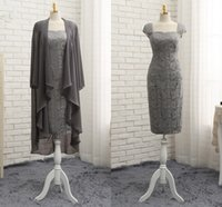 Wholesale jacket grey sheath - Modern Grey Mother of the Bride Dress Lace Bodice Short With Big Jacket Long Sleeves Chiffon Straps Evening Formal Gowns