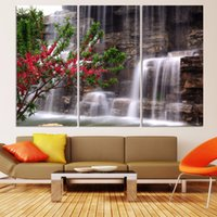 pintura a óleo de arte de cachoeira venda por atacado-3 Pcs Verde Cachoeira estilo moderno Abstract Canvas Oil Painting Landscape Poster Pictures pintura decorativa Wall Art No Frame