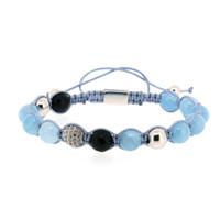 diseños de pulsera de macramé al por mayor-Diseño Sky Blue Black Onyx Stone Bead con color plateado CZ Zircon Copper Charm Knot Ajustable Trenzado Macrame Pulsera Para Hombre
