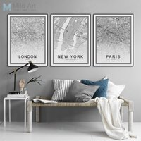 Wholesale canvas wall art new york - Black White World City Map Poster Nordic Living Room London New York Paris Wall Art Pictures Home Decor Canvas Painting No Frame