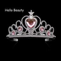 cabeça do coração do rosa de plástico venda por atacado-Adorável Rosa Meninas Plástico Hairband Strass Princesa Coroa Tiara Coração Aniversário Tiara Para Crianças Acessórios Para o Cabelo