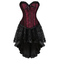 frauen gothic clubwear kleid großhandel-Gothic Floral Lace up Korsett Kleid Showgirl Clubwear Dessous Kostüm Burlesque Korsett und Rock Set exotische Frauen