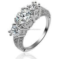 anéis de noivado de safira para mulheres venda por atacado-Presente de noivado de jóias mulheres clássico moda safira branca 925 anel de casamento de prata