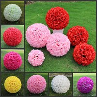 blumenkugeln für hochzeitsdekorationen großhandel-Hochzeits-Dekoration 40cm 16inch Künstliche Rose Silk Blumen-Ball-Küssen Ball Pomander Rose Wedding Blumen-Blumenstrauß-hängende Ball-Party-Dekor
