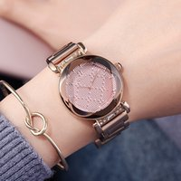 Wholesale ladies rose pink belts for sale - Group buy GUOU Durable New Rose Gold Ladies Watch D Surface Three dimensional Dial Fashion Personality Women s Stainless Steel Belt Watch